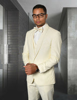 NEW Statement Mens Fashion Suit Tuxedo 3 PC Vest Modern Fit Caesar Off White
