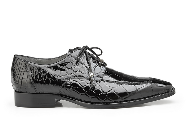 NEW Belvedere Mens Genuine Alligator Leather Exotic Dress Shoes Black Lorenzo