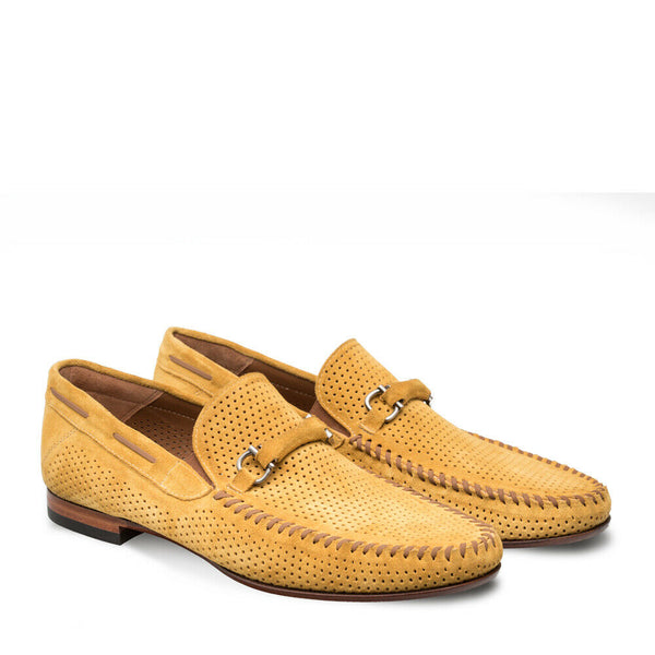 NEW Mezlan Dress Shoes Loafer Mocassin Suede Leather Marcello Mustard Yellow