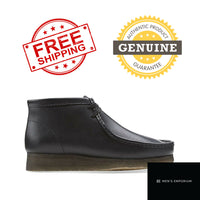 NEW Clarks Mens Originals Wallabee Boot Shoes Black Leather Cheese Bottom Crepe