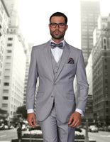NEW Statement Mens Fashion Suit 3 PC Vest Modern Fit Solid Stzv-100 Gray