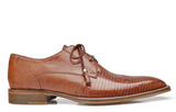 NEW Belvedere Mens Karmelo Genuine Lizard Leather Dress Shoes Lace Up Brown Tan