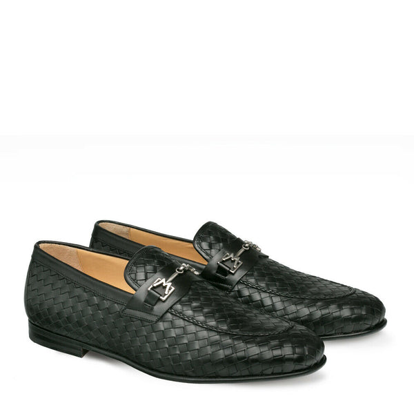 NEW Mezlan Genuine Woven Leather Fashion Slip On Loafer Dress Shoes Cerros Black