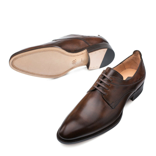 NEW Mezlan Genuine Hand Burnished Leather Dress Shoes Oxfords Archway Dark Brown