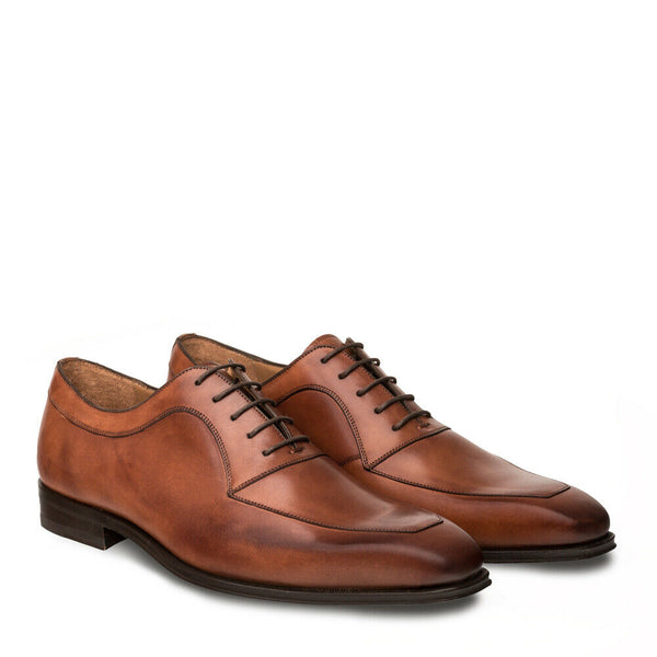 NEW Mezlan Genuine Italian Leather Dress Shoes Apron Toe Oxford Andres Cognac