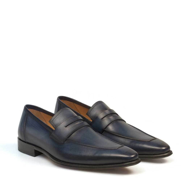 NEW Mezlan Genuine Calfskin Leather Dress Penny Loafer Shoes Marcus Navy Blue