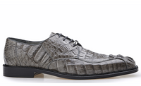 NEW Belvedere Chapo Genuine Crocodile Hornback Mens Oxford Dress Shoes Gray
