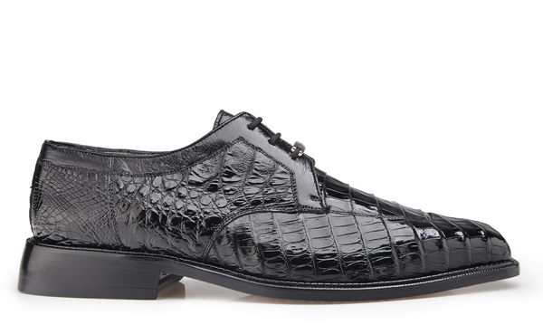 NEW Belvedere Susa Genuine Crocodile Black Mens Shoes Oxfords Lace Up