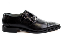 NEW Belvedere Mens Amico Genuine Ostrich Double Monk Dress Shoes Black Leather