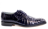 NEW Belvedere Chapo Genuine Crocodile Hornback Mens Oxford Dress Shoes Navy Blue