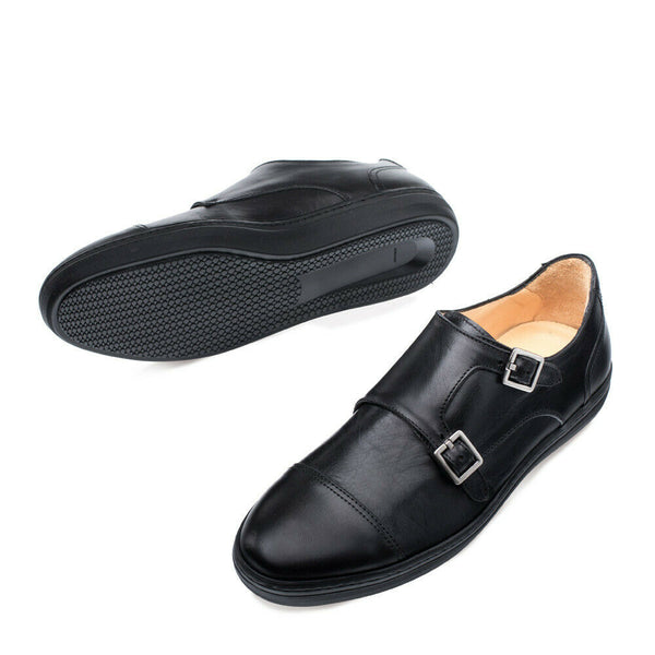NEW Mezlan Mens Double Monk Strap Leather Dress Sneaker Handmade Vicenza Black