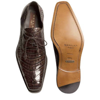 NEW Mezlan Genuine Crocodile Leather Exotic Dress Shoes Lace Up Anderson Brown