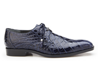 NEW Belvedere Lago Genuine Alligator Mens Oxfords Lace Up Dress Shoes Navy Blue