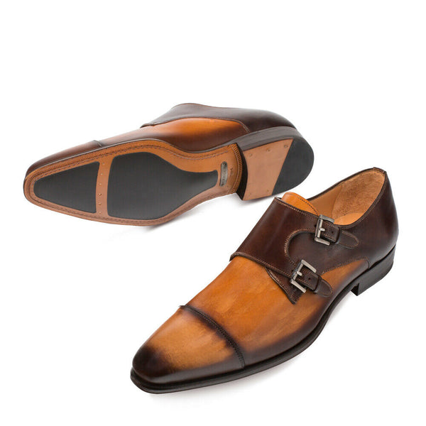 NEW Mezlan Mens Double Monk Dress Shoes Fashion Leather Bardem 2 Tone Tan Brown