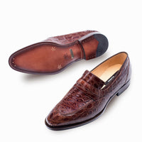 NEW Mezlan Genuine Crocodile Leather Dress Penny Loafer SlipOn Exotic Shoe Brown