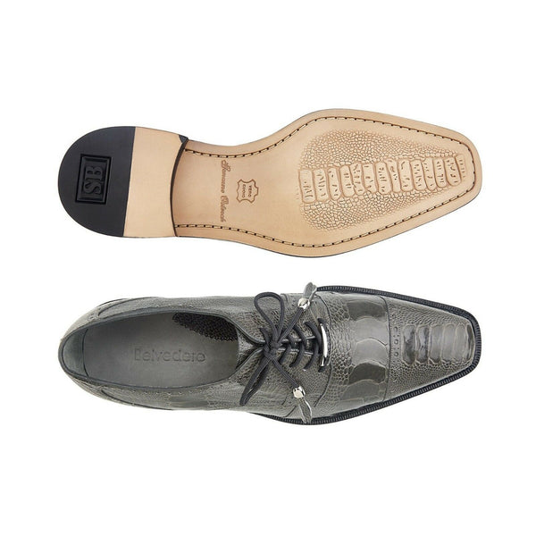 NEW Belvedere Batta Gray Mens Dress Shoes Genuine Ostrich Lace up Oxfords