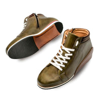 NEW Mezlan Mens Premium Genuine Leather Hi Top Dress Sneaker Shoe Niro Olive
