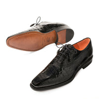 NEW Mezlan Genuine Crocodile Leather Exotic Dress Shoes LaceUp Oxford Lupo Black