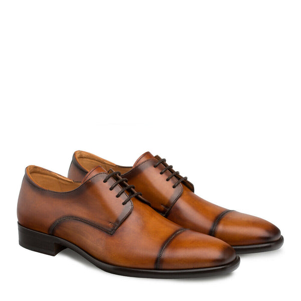 NEW Mezlan Cap Toe Hand Burnished Dress Shoe Calfskin Leather Republic Tan Brown