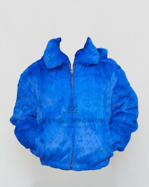 NEW Mens Genuine Rabbit 100% Real Authentic Fur WinterCoat Jacket USA Royal Blue