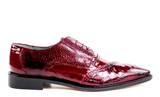 Belvedere Nino Mens Shoes Scarlet Red Burgundy Genuine Ostrich Eel Leg Lace Up