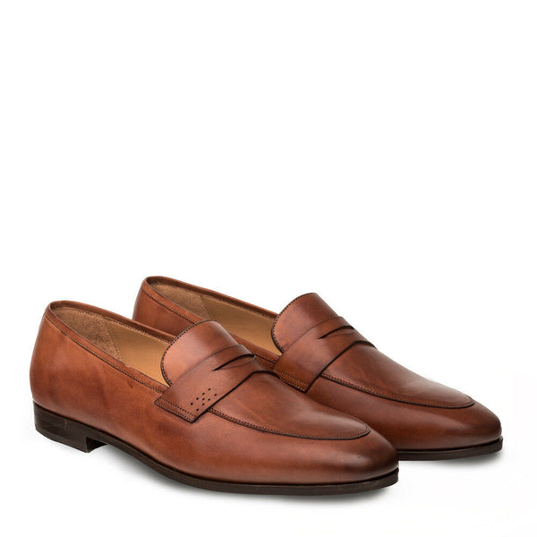 NEW Mezlan Genuine Italian Leather Dress Penny Loafer Slip On Shoes Cognac Brown