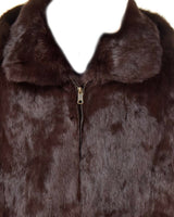 NEW Mens Genuine Rabbit 100% Real Authentic Fur Winter Coat Jacket USA Brown