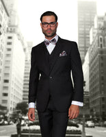 NEW Statement Mens Fashion Suit 3 PC Vest Modern Fit Solid Stzv-100 Black