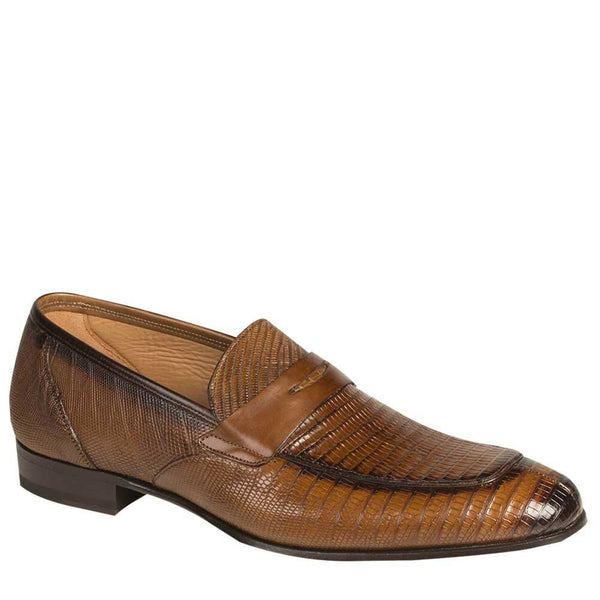 NEW Mezlan Genuine Lizard Leather Dress Slip On Penny Loafer Shoes Lipari Brown