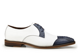 NEW Belvedere Mens Genuine Ostrich Leather 2 Tone Dress Shoes Monaco White Blue