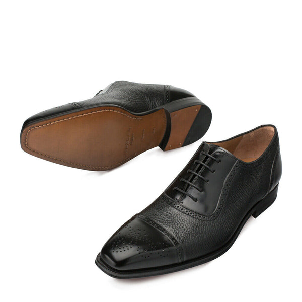 NEW Mezlan Dress Shoes Classic Oxfords Genuine Deerskin Leather Murino Black
