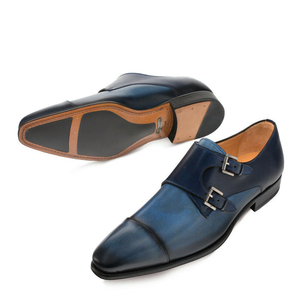 NEW Mezlan Mens Double Monk Dress Shoes Fashion Leather Bardem 2 Tone Blue