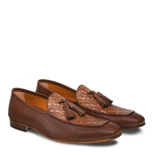 NEW Mezlan Mens Dress Shoes Loafers Perforated Tassle Woven Leather Rubini Brown