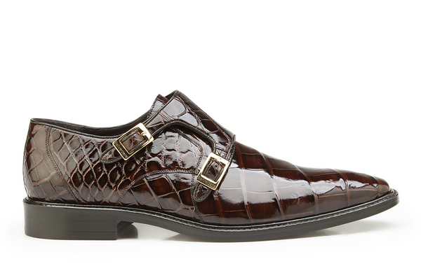 NEW Belvedere Oscar Mens Genuine Alligator Double Monk Buckle Dress Shoes Brown