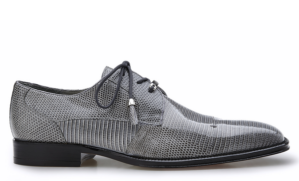 NEW Belvedere Mens Karmelo Genuine Lizard Leather Dress Shoes Lace Up Gray