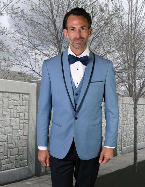 NEW Statement Mens Fashion Suit Tuxedo 3 PC Vest Modern Fit Genova Steel Blue