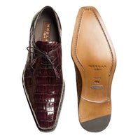 NEW Mezlan Genuine Crocodile Leather Exotic Dress Shoes LaceUp Anderson Burgundy