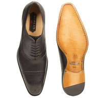 NEW Mezlan Perforated Cap Toe Dress Shoes Genuine Leather Alcala Charcoal Black