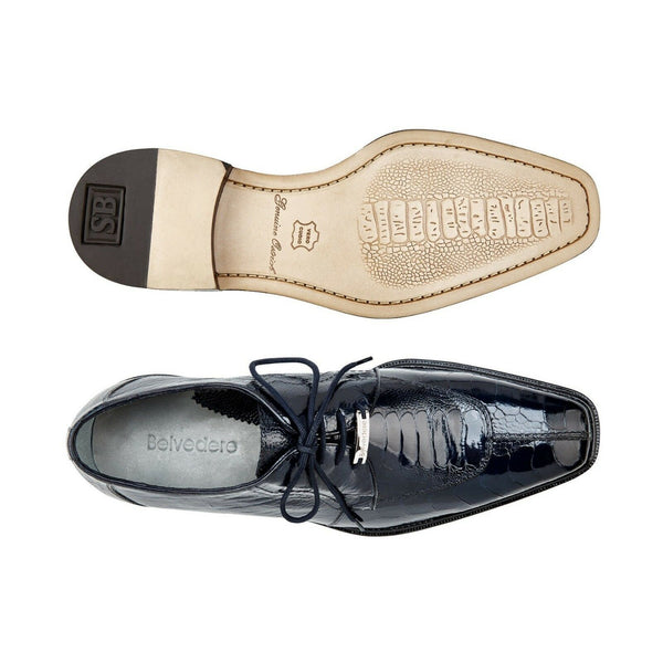NEW Belvedere Siena Mens Genuine Ostrich Oxford Dress Shoes Navy Blue Lace Up