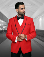 NEW Statement Mens Fashion Suit Tuxedo 3 PC Vest Modern Fit Genova Red