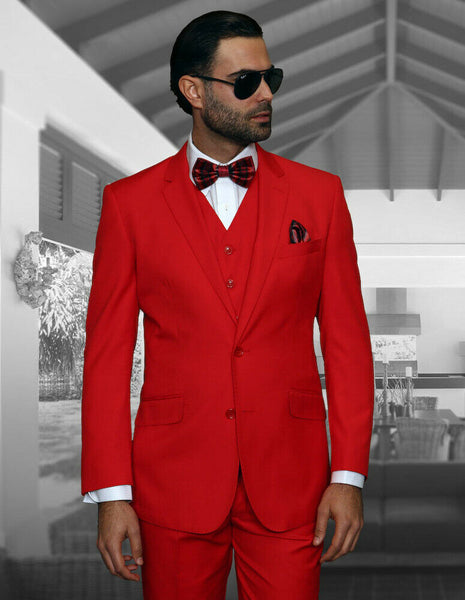 NEW Statement Mens Fashion Suit 3 PC Vest Modern Fit Solid Stzv-100 Red