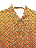 NEW Mens Creme De Silk Vintage Rare Orange Metallic 100% Silk Soft Shirt Size XL