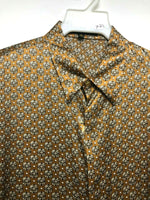 NEW Mens Creme De Silk Vintage Brown Multi Pattern 100% Silk Soft Shirt Size XL