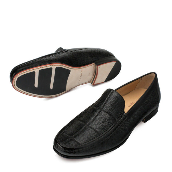 NEW Mezlan Genuine Leather Deerskin Dress Slip On Shoes Moccasin Imanol Black