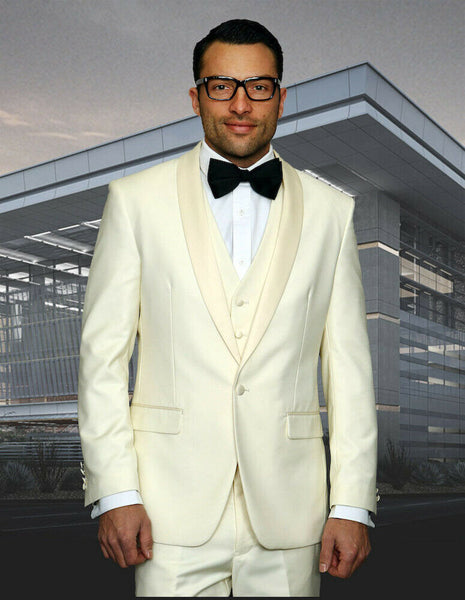 NEW Statement Mens Fashion Suit 3PC Vest Modern Fit Shawl Lapel Tuxedo Off White