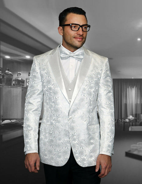 NEW Statement Mens Fashion Suit Tuxedo 3 PC Vest Modern Fit Bellagio 4 White