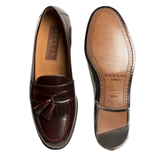 NEW Mezlan Genuine Leather Classic Kiltie Tassel Slip On Dress Shoes Burgundy