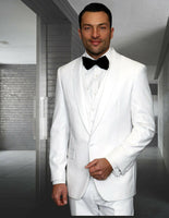NEW Statement Mens Fashion Suit 3 PC Vest Modern Fit Shawl Lapel Tuxedo White
