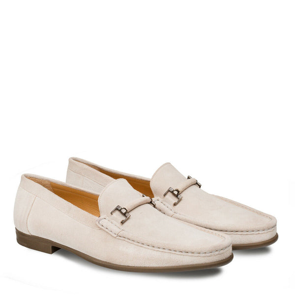 NEW Mezlan Dress Slip On Shoe Moccasin Genuine Suede Leather Handmade Bone Landa