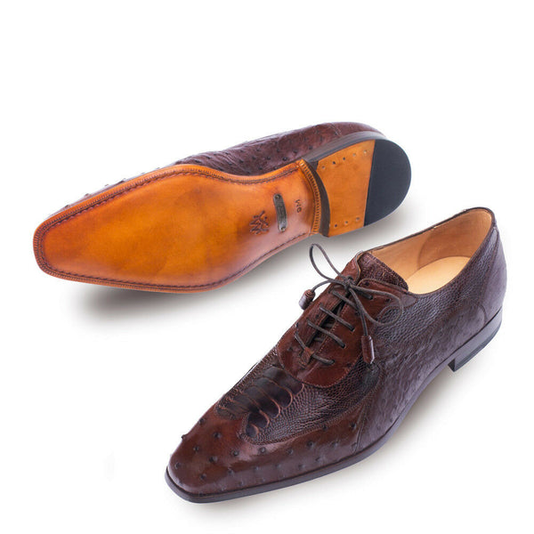 NEW Mezlan Dress Shoes Wingtip Oxfords Genuine Ostrich Quill Leather Getty Brown